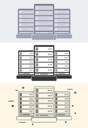 computer network diagram: Server icon in 3 style. Flat and Line