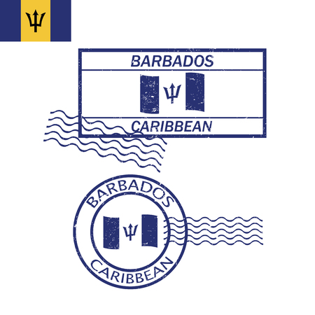 barbados: Barbados Caribbean flag and stamp