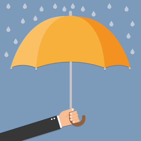 weatherproof: Hand of man holding an umbrella Illustration