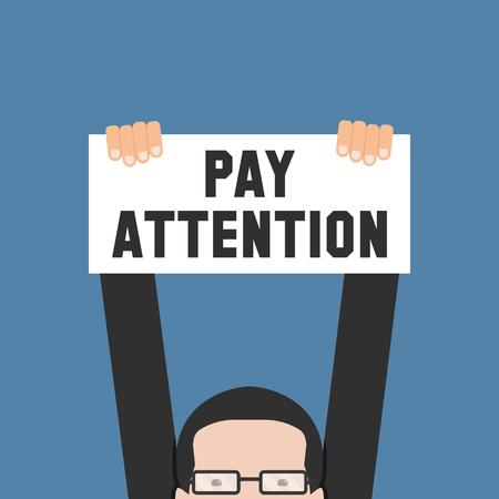 poner atencion: Mano que sostiene la bandera con la atención de la paga