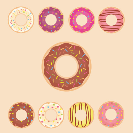 donut style: Donut set icon. Vector illustration in a flat style. Mega collection of sweet donuts isolated