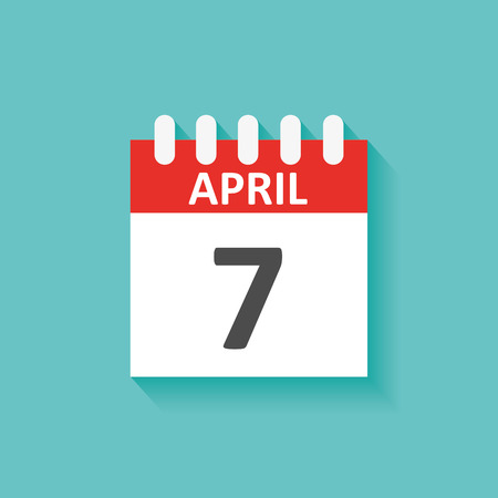 business meeting computer: Calendar icon. Date, day, month. 7 April Illustration
