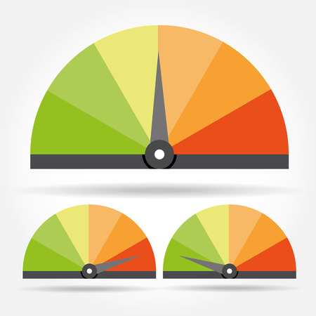 km: Speedometer icon. Colorful Info-graphic