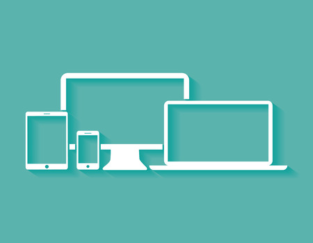 iconos de los dispositivos planos de diseño