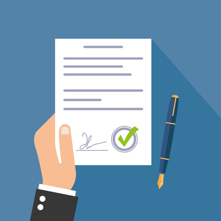 indenture: Business man hand holding contract agreement vector illustration, checkmark, pen flat icon Illustration