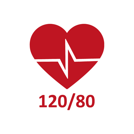 blood pressure monitor: Heart cheering cardiogram. Healthy pulse, flat icon Illustration