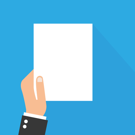 Man hand holding paper mockup empty in flat style