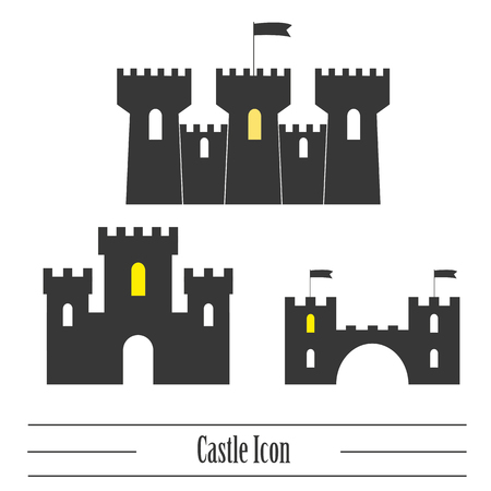 knightly: Castle icon. Vector set Illustration