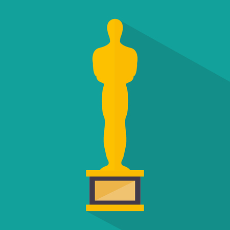 statuette: Golden movie award. Icon. Vector illustration