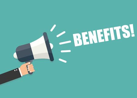 the benefits: Hand holding megaphone - Benefits