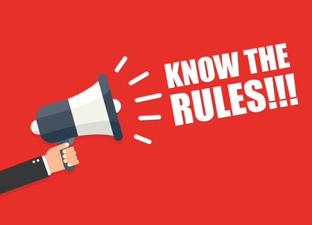 know: Hand holding megaphone - Know the rules! Illustration