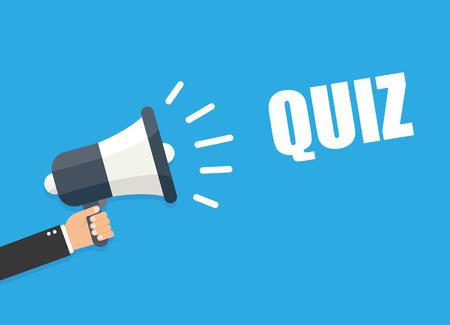 Hand holding megaphone - Quiz Stock Illustratie