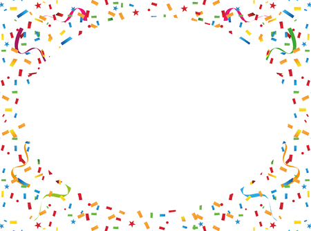 welcoming party: Colorful confetti and streamers. Background