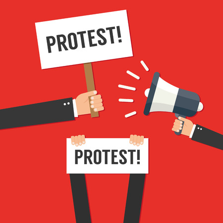 protest signs: Hands holding protest signs