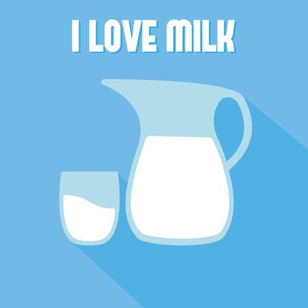 liter: Milk in pitcher and glass. Flat icon milk