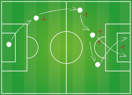 tactics: Football field. Tactics game Illustration
