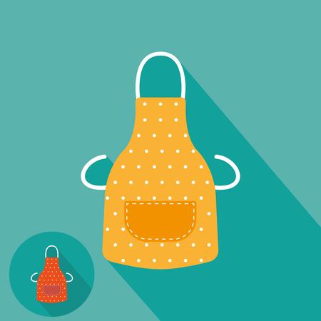 mandil: Delantal de cocina icono plana Vectores