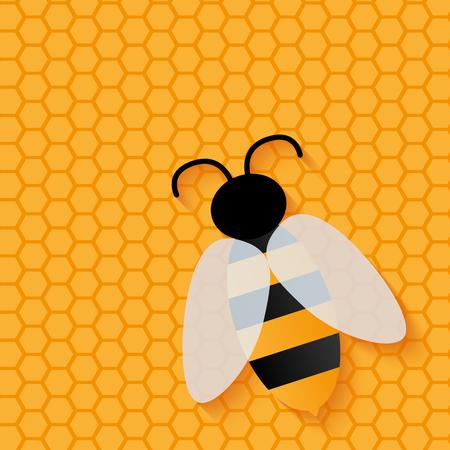 mosca caricatura: icono de abeja. vuelo de la abeja en el fondo. pequeña abeja linda