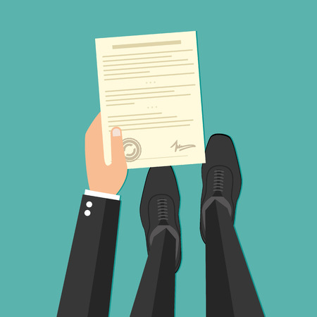 indenture: Business man hand holding contract agreement vector illustration Illustration