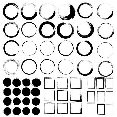 Vector set van grunge cirkel borstel en Grunge Black Frames. Mega set Stock Illustratie