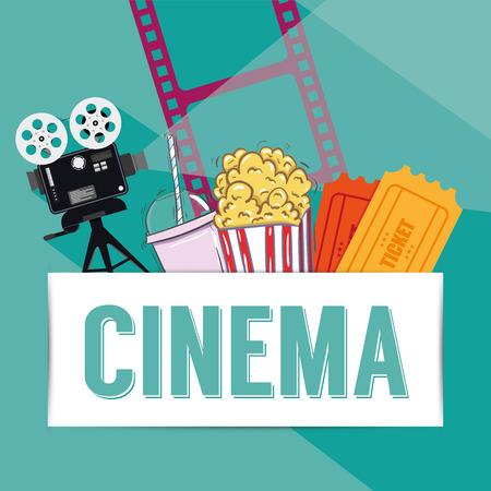 cinematograph: Cinema reel on background Illustration