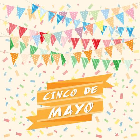 may: Cinco De Mayo bunting background Illustration