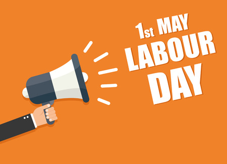 hire: International labour day. Labour day vector  illustration.  Labour day hand holding megaphone