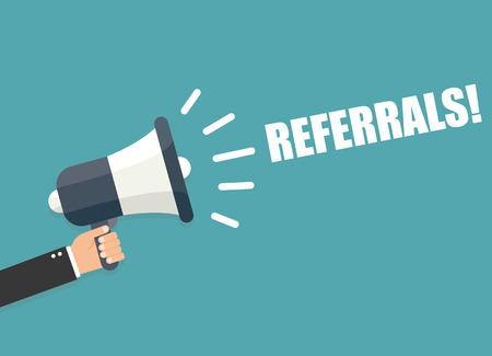 advertiser: Hand holding megaphone - Referrals