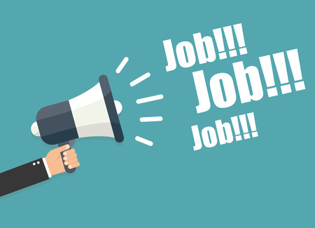jobsite: Hand holding megaphone - Job