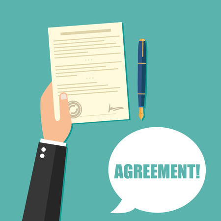 signing document: Hand holding contract agreement vector illustration