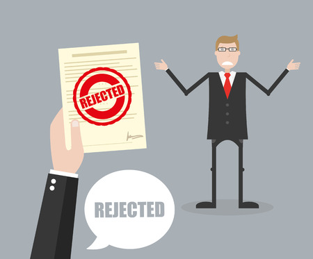 Rejected stamp in hand businessman