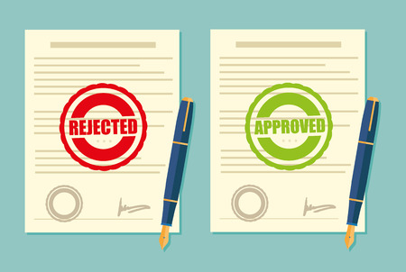 approved stamp: Rejected and approved stamp in  contract