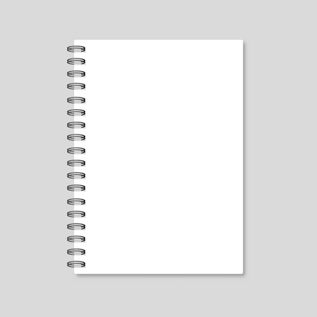 spiral notebook: Blank realistic spiral notepad notebook isolated on white vector. Template notebook. Blank cover design