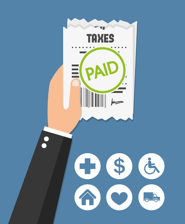taxation: Taxes paid. Flat icon