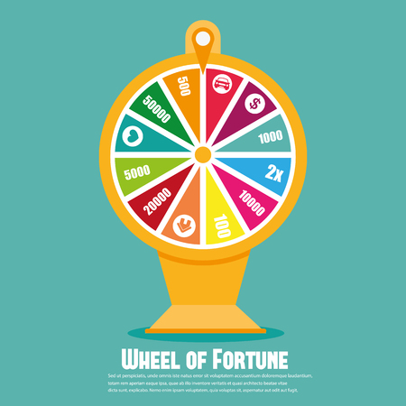 wheel of fortune: Wheel Of Fortune. Flat icon
