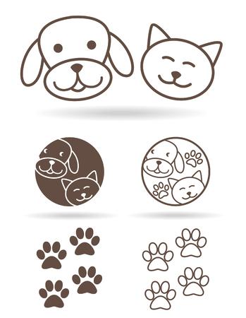 petshop: Paw print icon flat