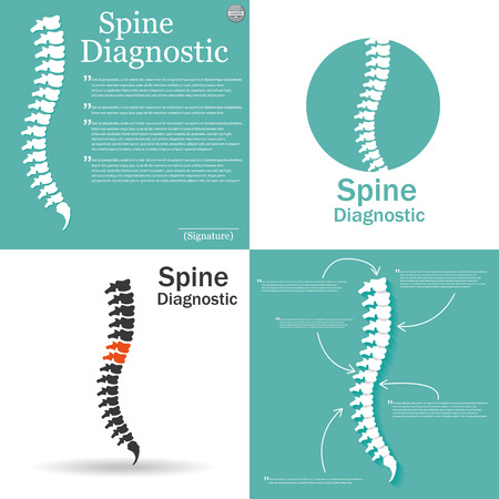 stenosis: Flat spine icon for orthopedic therapy, diagnostic center.