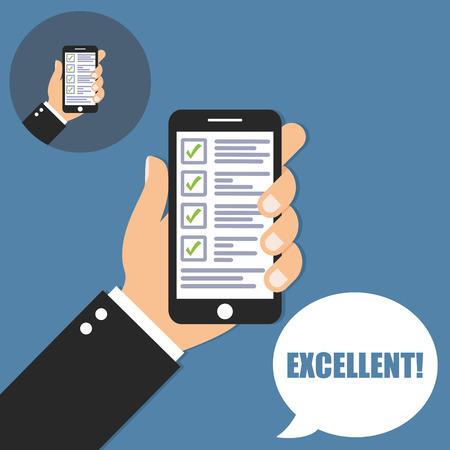 checklist: Hand holding phone with checklist