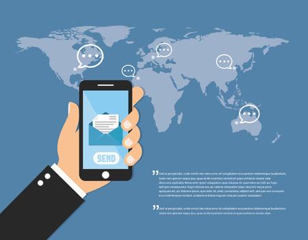 sending: Sending messages sms flat Illustration