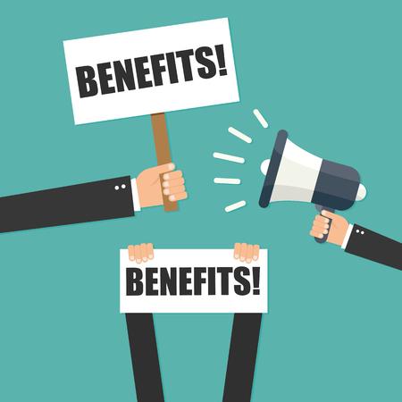 compensate: Hand holding megaphone - Benefits