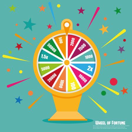 rueda de la fortuna: Rueda de la fortuna. icono plana Vectores