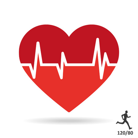 Heart beat pulse flat icon Çizim