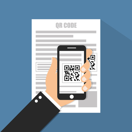 scanning: Mobile phone scanning QR code Illustration