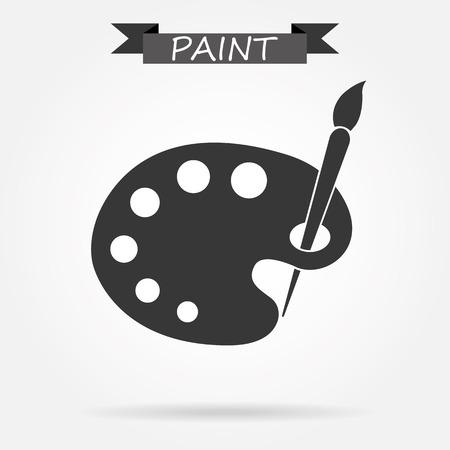 paleta de pintor: paleta del artista y el icono del cepillo Vectores