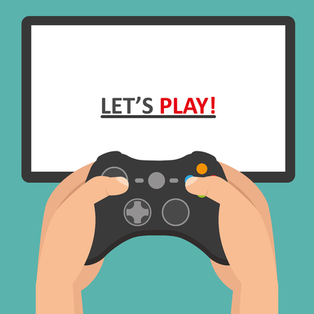 move controller: Holding in hands gamepad and playing videogame Illustration