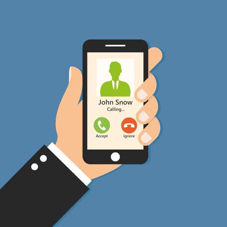 smartphone hand: Hand holding smartphone. Call