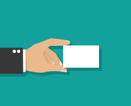 hand holding id card: Hand holding card. Empty visiting card Illustration