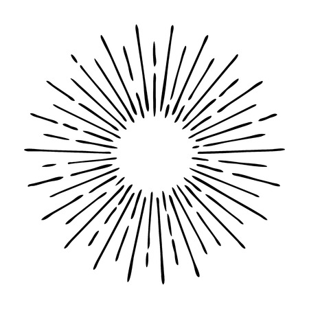 Sun rays hand drawn, linear drawing Ilustração