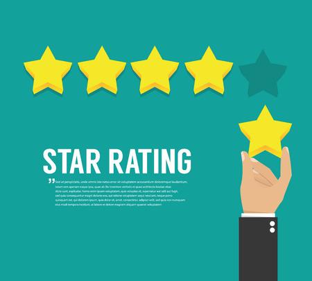 show of hands: Rating stars. Flat design Illustration