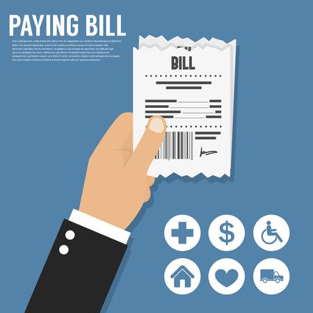 Paying bill. Flat icon Illustration